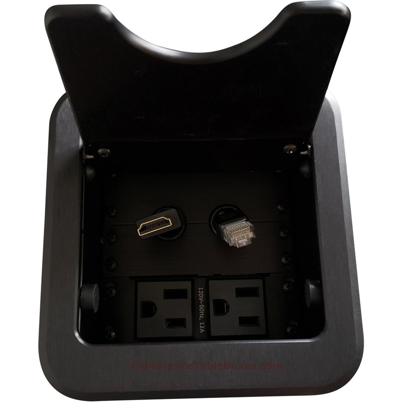 Cable Well Box with HDMI & Cat6 Retractable Cables, 2 Power - Black
