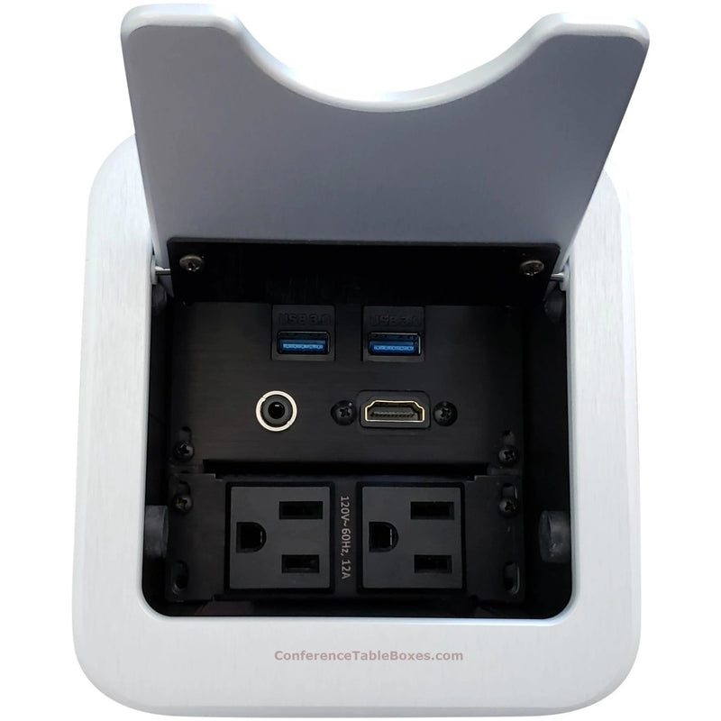 Altinex Cable Nook Jr Table Well Box, 2 Power, 1 HDMI, 2 USB, Silver