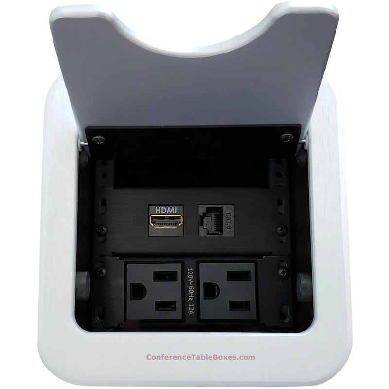 Mini Cable Well Conference Table Box 2 Power, 1 HDMI, 1 Cat6, Silver