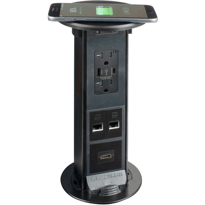 op Up Table Box, QI Charging, 2 Power, 2 USB, 2 Cat6, 1 HDMI, Black