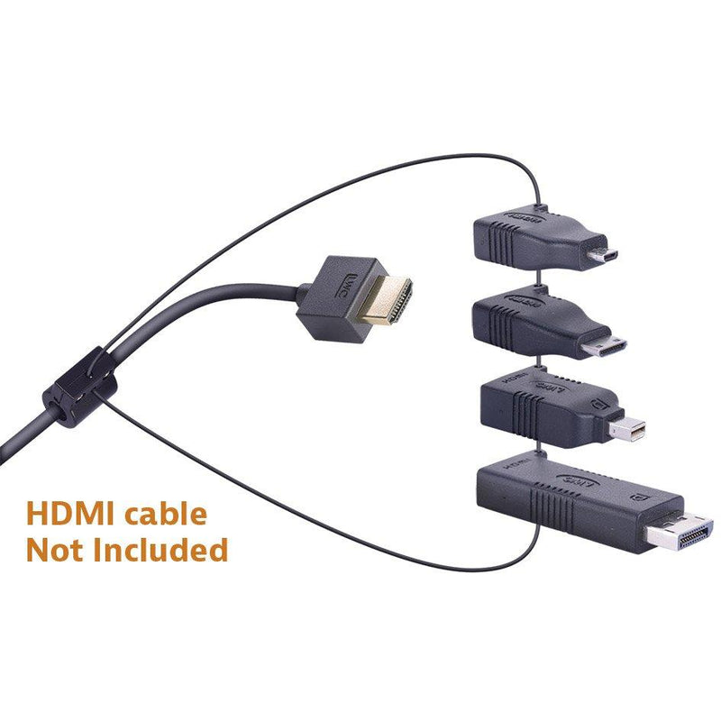 Liberty AV Digitalinx DL-AR2 digital keychain presentation adapter converts HDMI to: DisplayPort, Mini DisplayPort, Micro HDMI, Mini HDMI. Showing not included HDMI cable