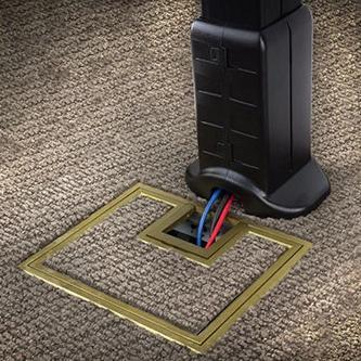 Under Table Cable Management Post Boot with Wire Exit shown