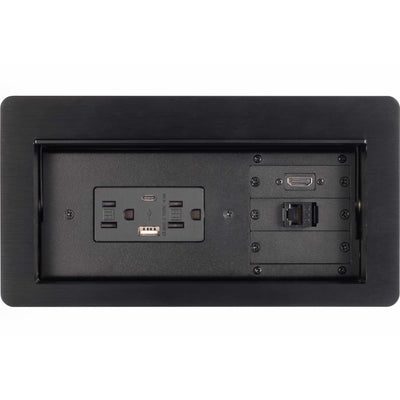 Lew Electric HCW-1B Cable Well Table Box, 2 Power, 2 Charging USB, 1 HDMI, 1 Data, Black