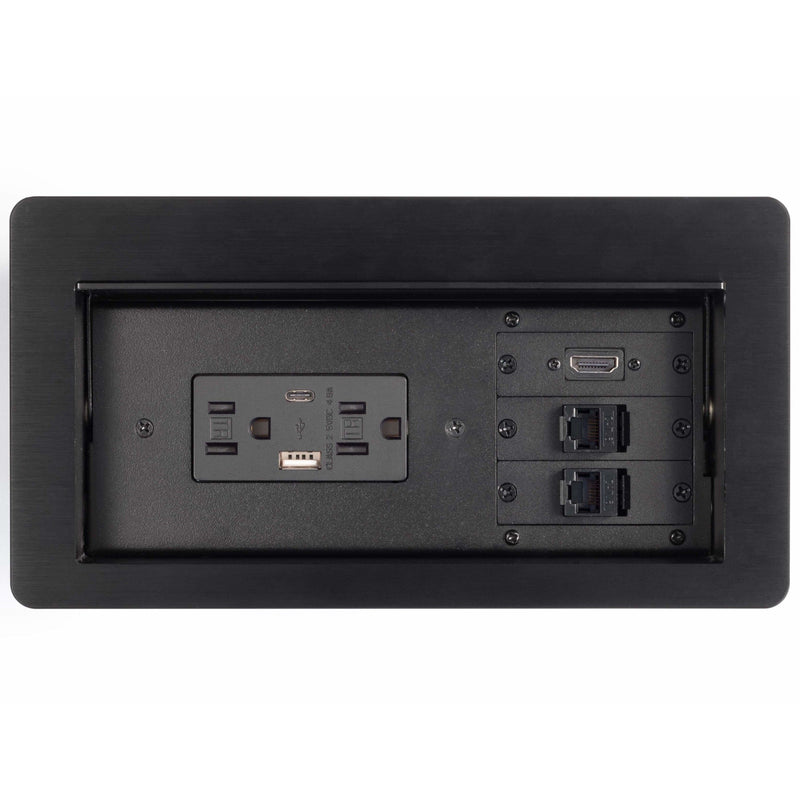 Lew Electric HCW-2B Cable Well Table Box, 2 Power, 2 Charging USB, 1 HDMI, 2 Data, Black