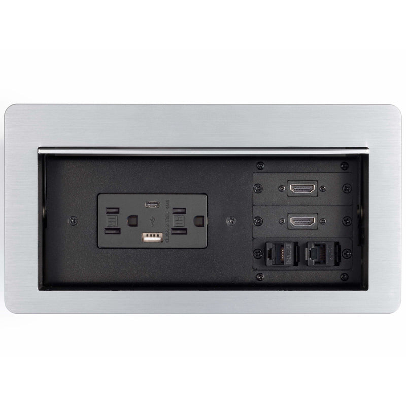 Lew Electric HCW-3S Cable Well Table Box, 2 Power, 2 Charging USB, 2 HDMI, 2 Data, Silver