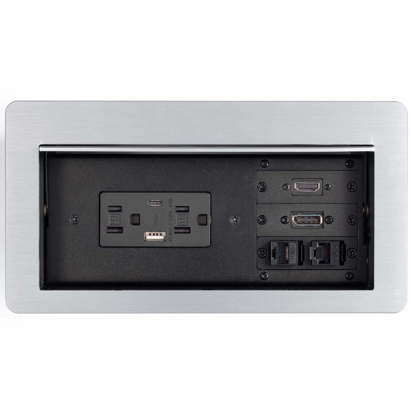Cable Well Table Box, 2 Power, 2 Charging USB, 1 HDMI, 1 DisplayPort, 2 Data, Silver