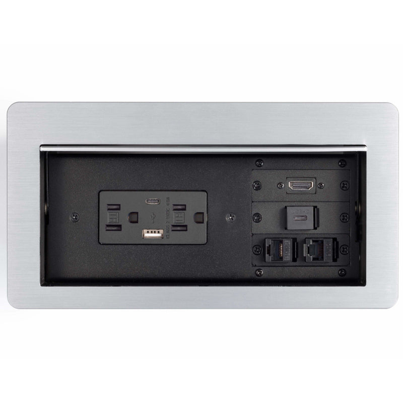 Lew Electric HCW-7S Cable Well Table Box, 2 Power, 2 Charging USB, 1 HDMI, 1 USB-C, 2 Data, Sliver