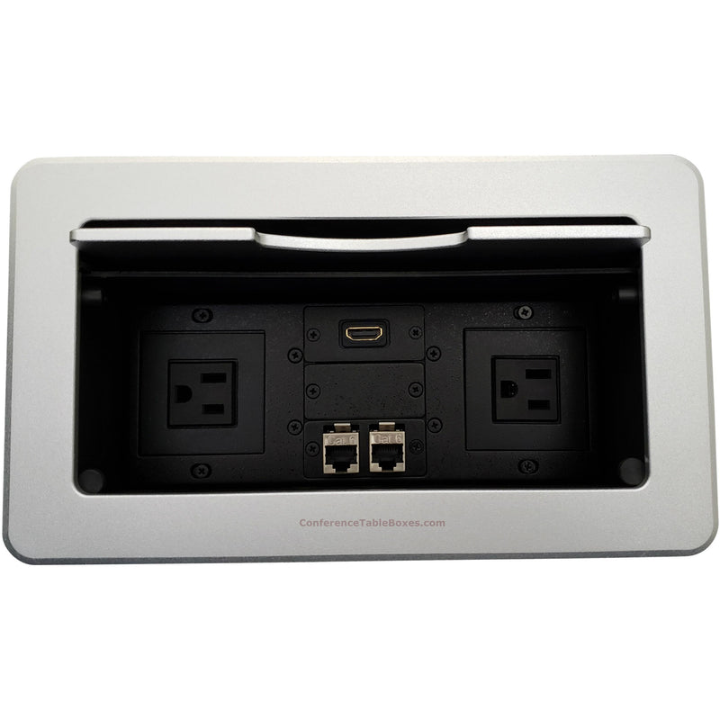 Kramer TBUS-6-S1 Conference Table Connectivity Box 2 Power, 1 HDMI, 2 Data Ports Silver