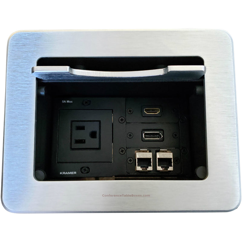 Cable Well Table Box, 1 Power, 1 HDMI, 1 DisplayPort, 2 Cat6, Silver