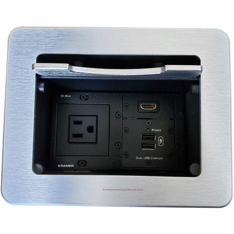 Kramer TBUS-5-S7 Cable Well Table Box, 1 Power, 1 Retractable HDMI, 2 Cat6 - Silver