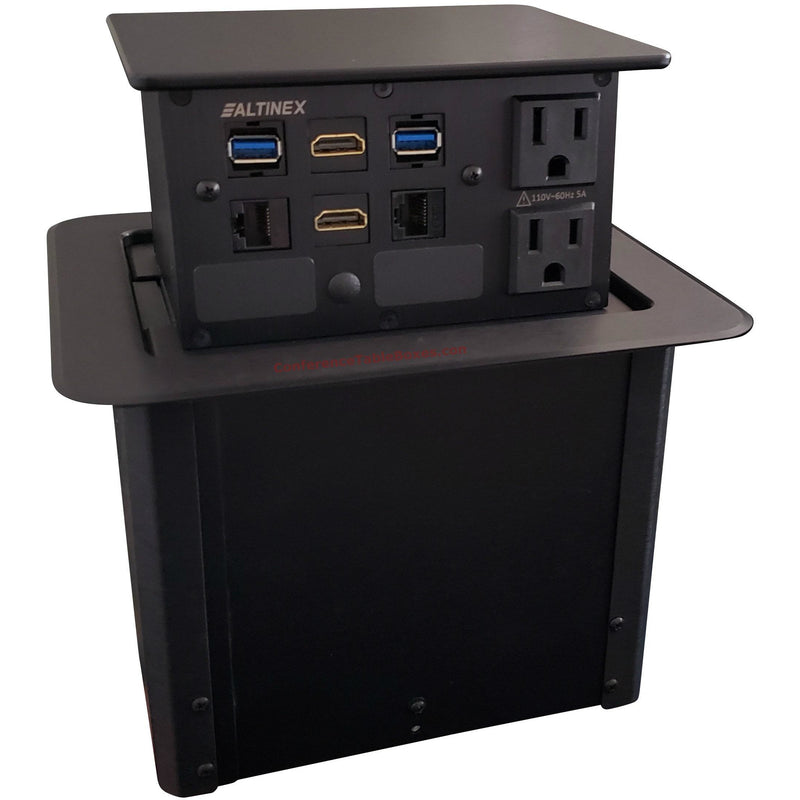 Dual Sided Pop Up Box, Each Side 2 Power, 2 Cat6, 2 HDMI, 2 USB, Black