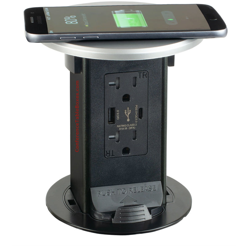 Pop Up Charging Tower, Wireless QI Charging Top, 2 Power, 1 USB-A, 1 USB-C Charging Port, Silver