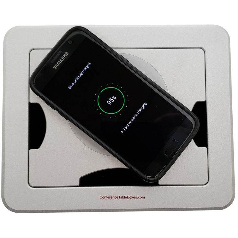 Cable Well Wireless Charging 2 AC, 2 USB, Retractable HDMI/Cat6, Silver