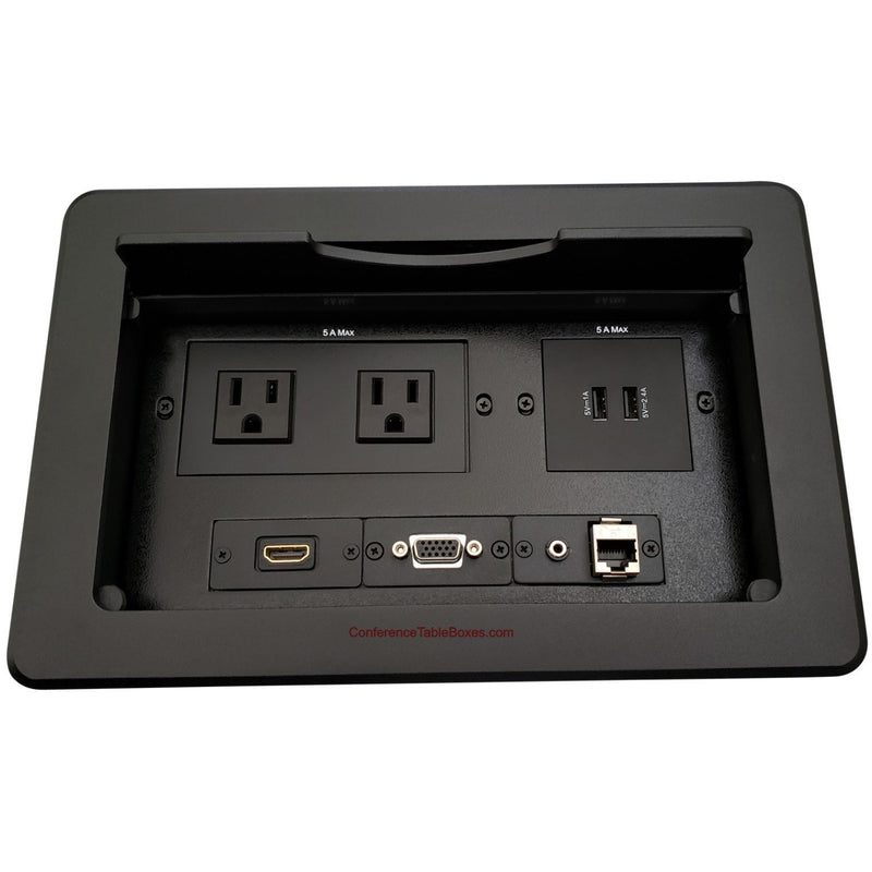 Kramer TBUS-10-B3 Table Box w/ 2 Power, 1 HDMI, 2 Charging USB, 1 USB, 2 Cat6, Black