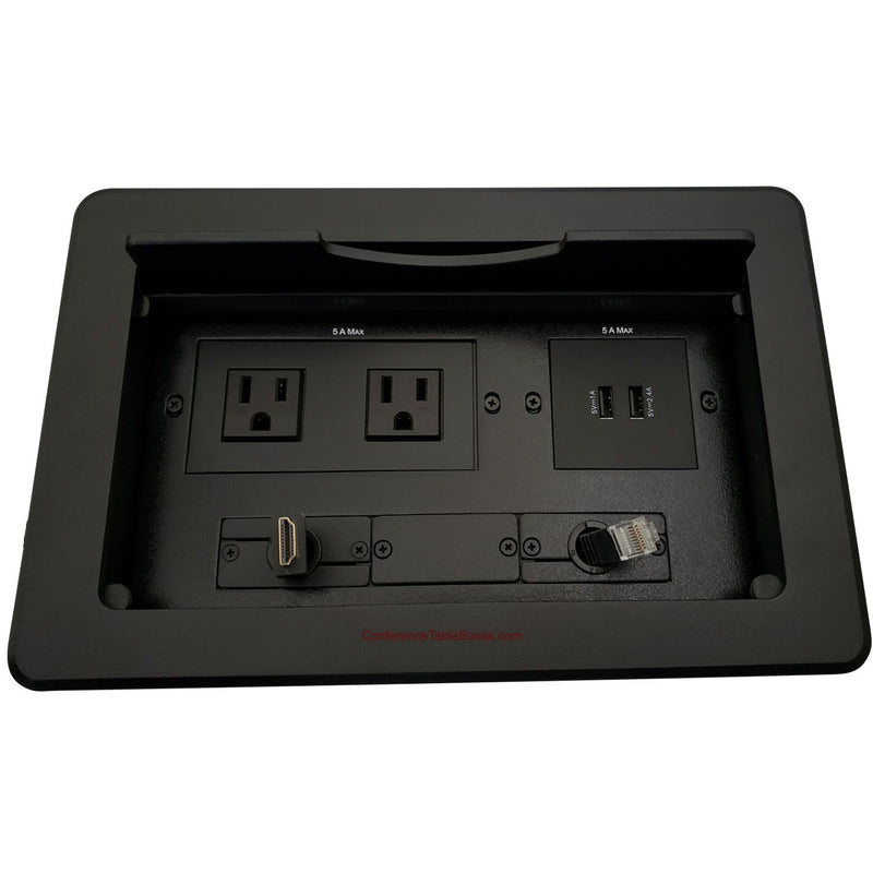 Kramer TBUS-10-B5 Conference Table Box 2 AC/Charging USB, Retracting HDMI & Cat6, Black