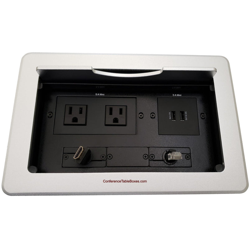 Kramer TBUS-10-S6 Conference Table Box 2 AC/Charging USB, Retracting HDMI & Cat6, Silver