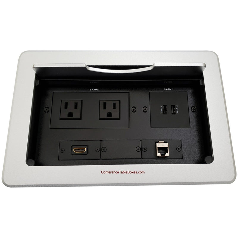 Kramer TBUS-10-S7 Conference Table Box, 2 Power, 1 HDMI, 2 Charging USB, 1 Cat6, Silver