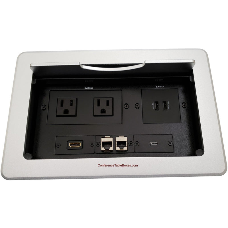 Kramer TBUS-10-S8 Table AV Box, 2 Power, 1 HDMI, 1 USB-C, 2 Charging USB, 2 Cat6, Silver