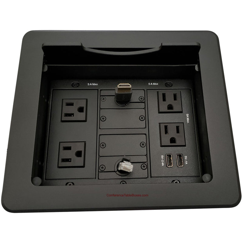 Table Well Box, 4 Power, 2 Charging USB, Retracting HDMI/Cat6, Black