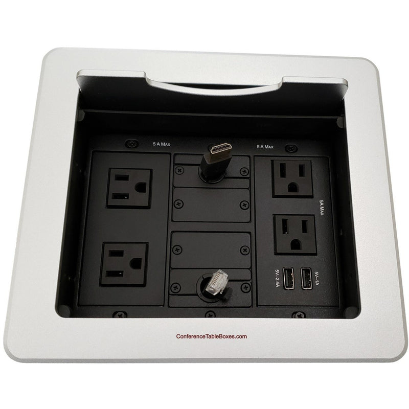 Kramer TBUS-1N-S5 Table Well Box, 4 Power, 2 Charging USB, Retracting HDMI/Cat6, Silver