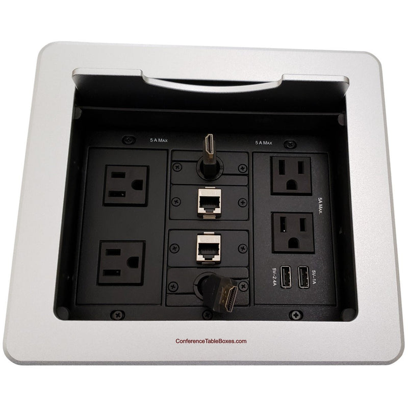 Kramer TBUS-1N-S6 Table Well, 4 Power, 2 Charging USB, 2 Retracting HDMI, 2 Cat6, Silver