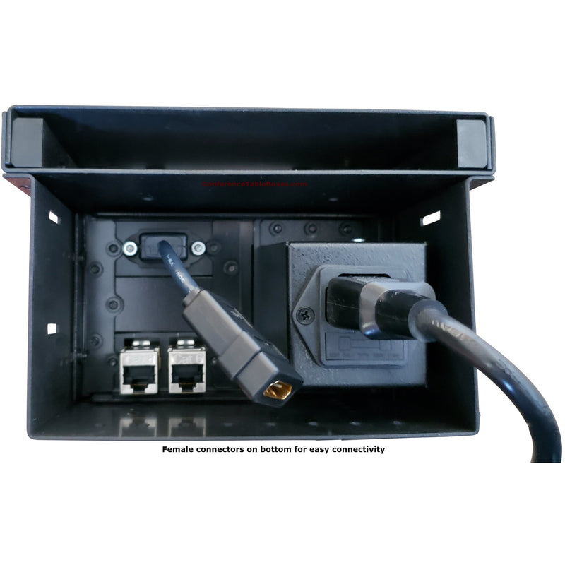 Cable Well Table Box with 1 Power, 1 HDMI, 2 Cat6 - Black