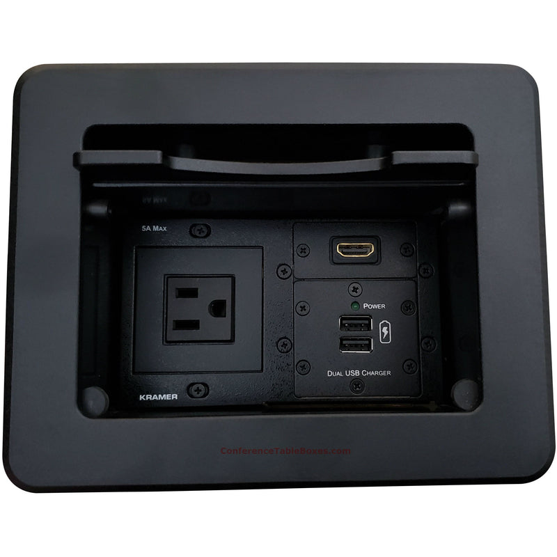 Kramer TBUS-5-B3 Cable Well Table Box, 1 Power, 1 HDMI, 2 Charging USB, Black