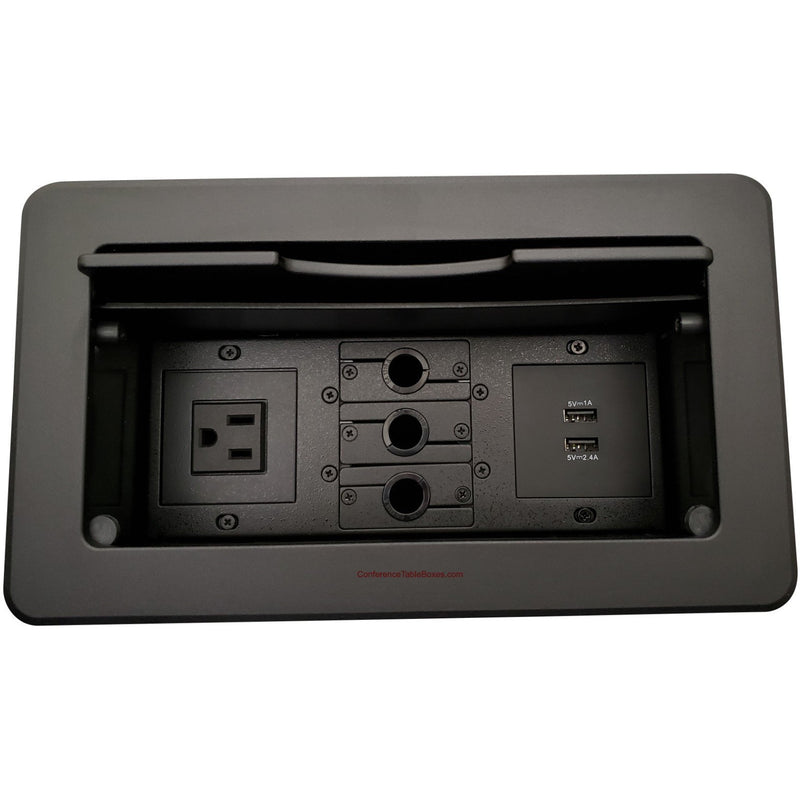 Kramer TBUS-6-B4 Conference Table Connectivity Box 1 Power, 2 Charging USB, and 3 Cable Holes - Black