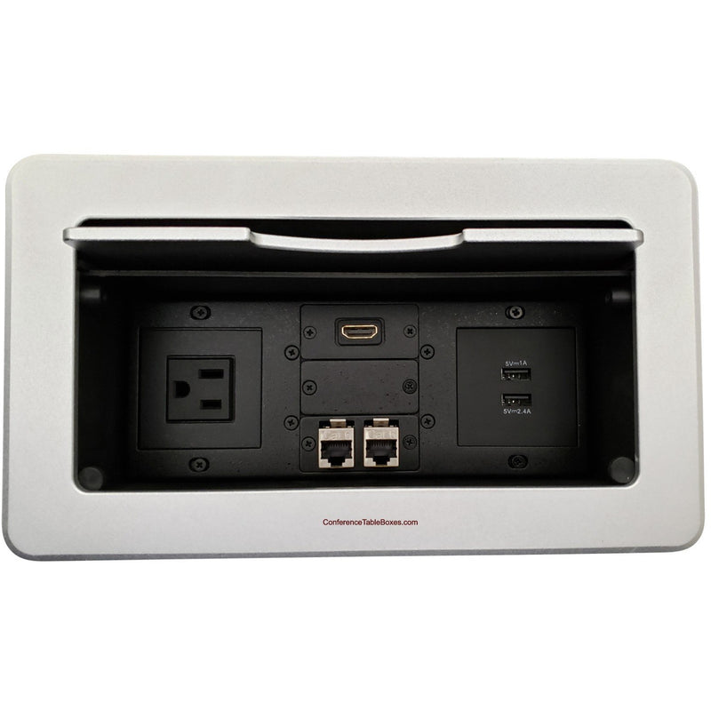 Kramer TBUS-6-S7 Conference Table Box, 1 Power, 2 Charging USB, 1 HDMI, 2 Data - Silver