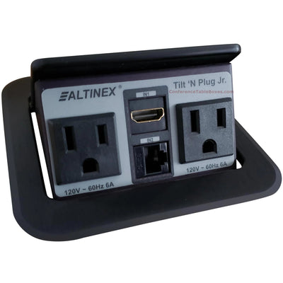 Altinex TNP150C Pop Up Table Box, 2 Power, 1 Data, 1 HDMI - Black
