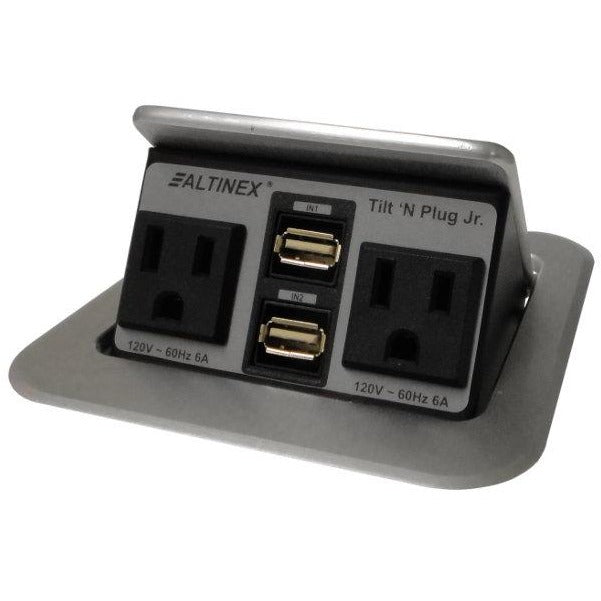 Altinex TNP155S Pop Up Table Charging Station, 2 Power, 2 USB, Silver