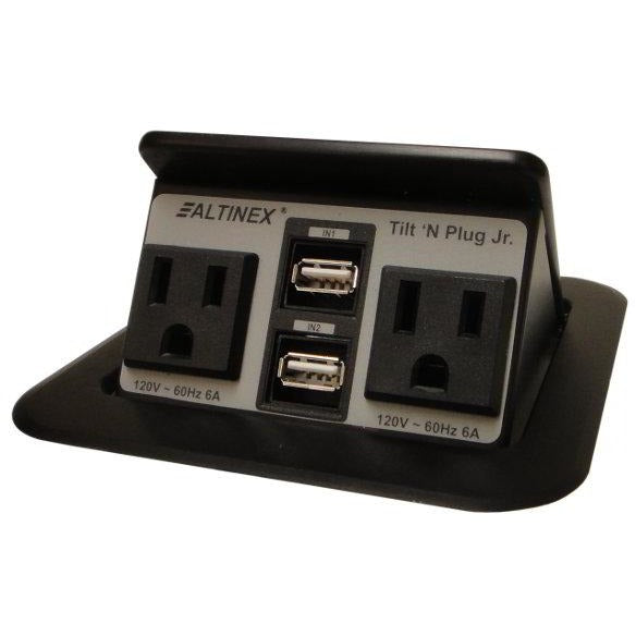 Altinex TNP155 Pop Up Table Charging Station, 2 Power, 2 USB, Black