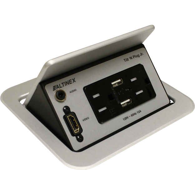 Altinex TNP358S Pop Up Table Box, Power, HDMI, Charging USB, Silver