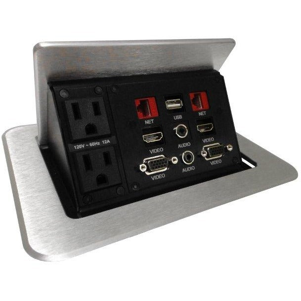 Pop Up Tabletop Multi Connection Box, AC, Data, HDMI, VGA, USB, Silver