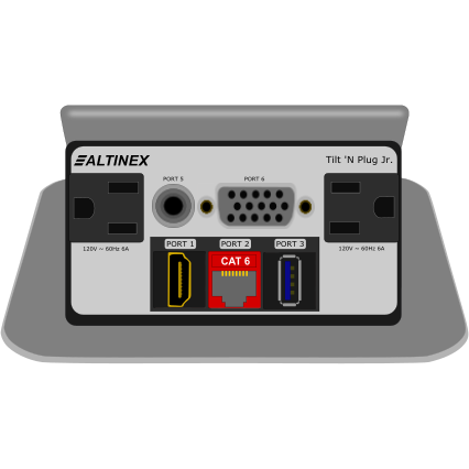 Altinex TNP329S Pop Up Table AV Box, AC, Data, VGA, HDMI, USB, Silver