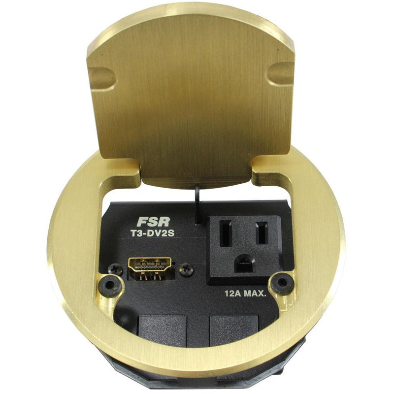 FSR T3-DV2S-BRS Round Cable Well Conference Table Box 1 Power, 1 HDMI, 2 Blanks, Open Brass Lid