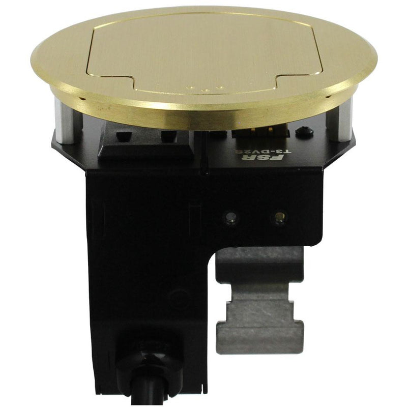 Round Cable Well Conference Table Box 1 Power, 1 HDMI, 2 Blanks, Closed Brass Lid, Side Shot