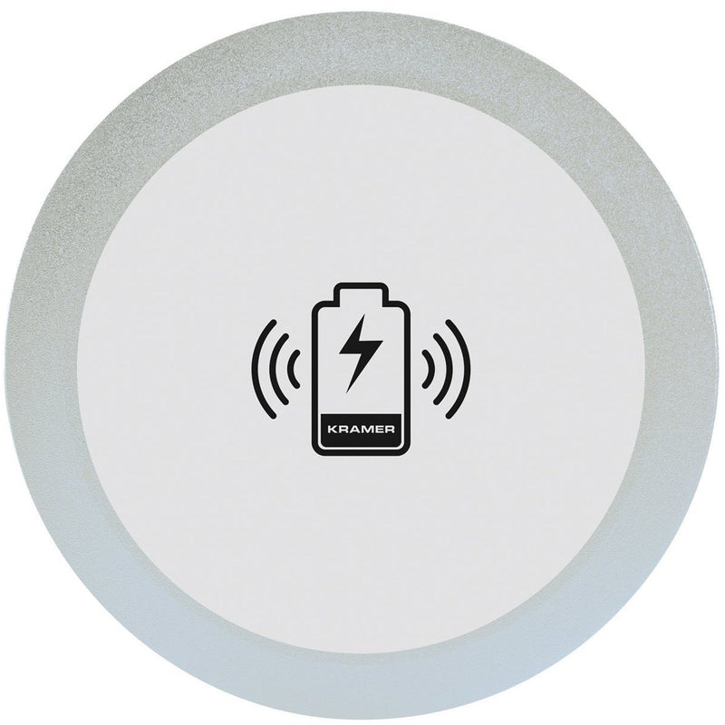 Kramer KWC-1(BC) Round Wireless QI Charging In-Table Mounted Spot Silver - Top