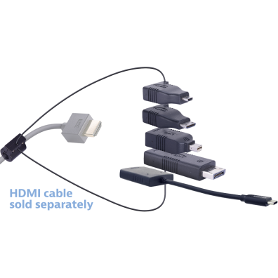 Liberty AV Digitalinx DL-AR1902 digital keychain presentation adapter converts HDMI to: DisplayPort, Mini DisplayPort, Micro HDMI, Mini HDMI, Pigtail USB-C