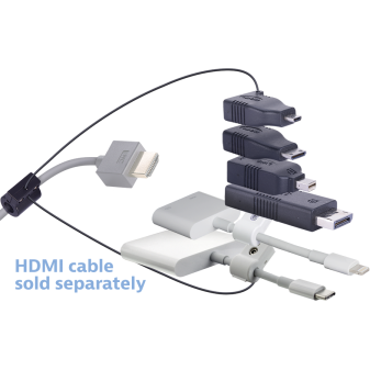 Liberty AV Digitalinx DL-AR2772 digital keychain presentation adapter converts HDMI to: DisplayPort, Mini DisplayPort, Micro HDMI, Mini HDMI, Apple USB-C, Lightning