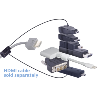 Liberty AV Digitalinx DL-AR7249 digital keychain presentation adapter converts HDMI to: DisplayPort, Mini DisplayPort, Micro HDMI, Mini HDMI, USB-C, DVI, Lightning