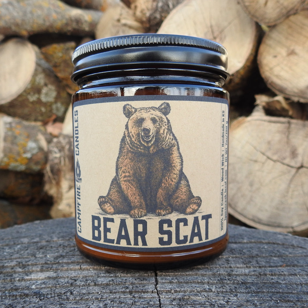 Bear Scat - Soy Wax Candle - Wood Wick - Campfire Candles