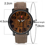 Stainless Steel Male Quartz Watch Big Face Leather Designer Wooden Watches Men
