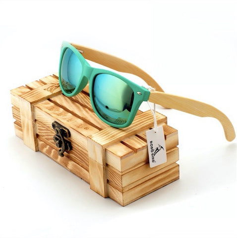 Polarized Sunglasses Bamboo Wooden Holders Driving Men Women w/Wooden Gift Box