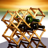 1PC High quality Solid Wood Folding Wine Rack Foldable Wine Stand Wooden Bottle Holder creative gift