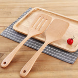 2 Pieces Wooden Turner Spatula Set Natural Beech Wood Turners Set Non-Stick Spatulas Cooking Tools Kitchen Wood Utensils