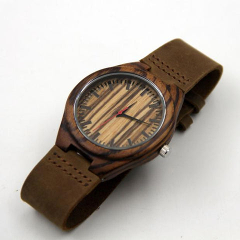 Fashion Leather Bamboo Wooden Watches Wood Grain