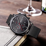 Luxury Men Watches Business Style Steel Material Waterproof Night Light Function