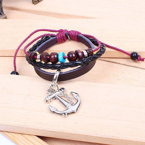 Fashion Anchor personalized Wooden Bead Wrist Bracelet Leather Jewelry