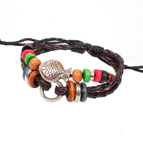 Fashion Little Fish Braided Wooden Bead Wrist Bracelet Leather Jewelry